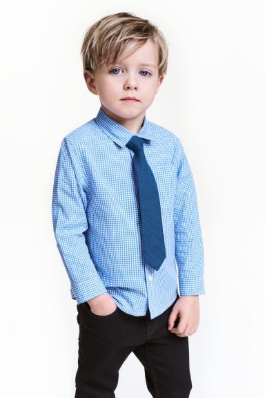 Shirt with a tie/bow tie - Blue/Checked -  | H&M