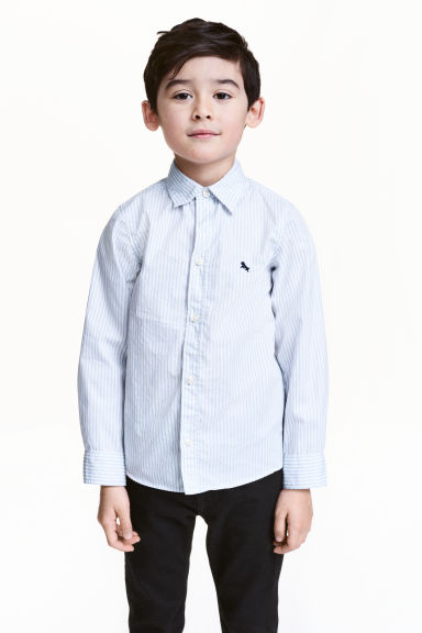 Cotton shirt - Light blue/Striped - Kids | H&M 1