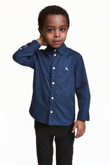 Cotton shirt - Dark blue - Kids | H&M 1