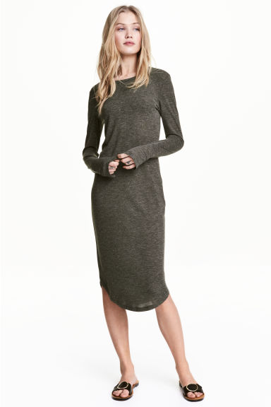 Marled jersey dress - Dark green - Ladies | H&M CN 1