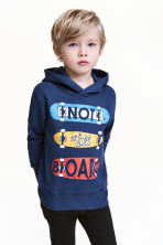 Print-motif hooded top - Dark blue - Kids | H&M CN 1