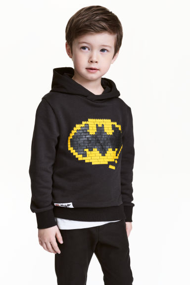 Printed hooded top - Black/Lego - Kids | H&M 1