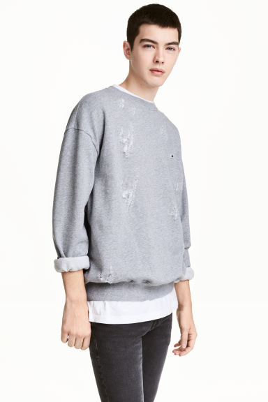 Trashed sweatshirt - Grey marl - Men | H&M 1
