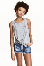 Tie-front vest top - Grey marl - Ladies | H&M 1