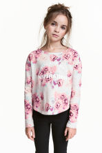 Printed top - Light grey/Roses -  | H&M 1