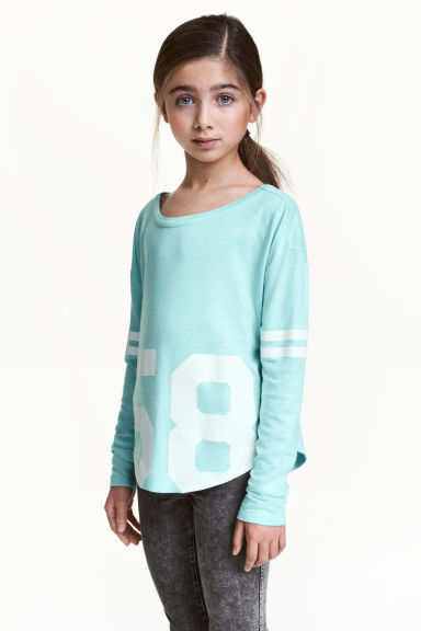 Printed top - Light turquoise -  | H&M 1