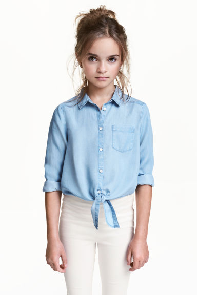 Lyocell tie-front shirt - Light blue - Kids | H&M CN 1