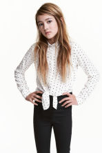 Tie-front blouse - White/Spotted -  | H&M 1
