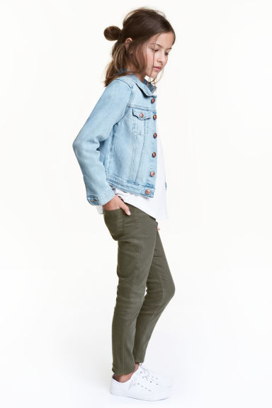 Twill biker trousers - Khaki green - Kids | H&M CN 1