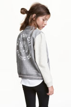 Printed baseball jacket - Grey marl - Kids | H&M CN 1