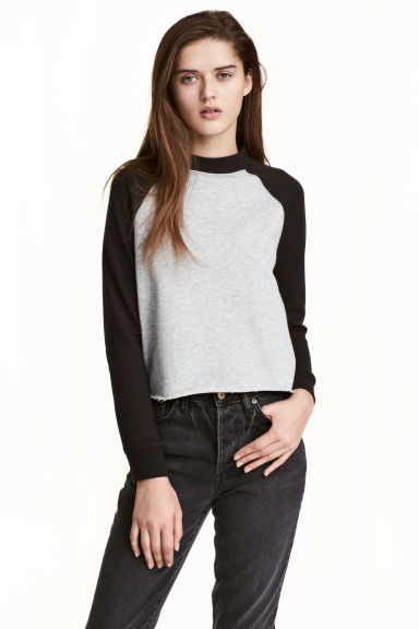 Cropped sweatshirt - Black - Ladies | H&M 1