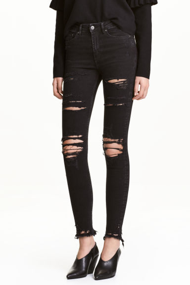 Skinny High Ankle Jeans - Черный деним -  | H&M RU 1