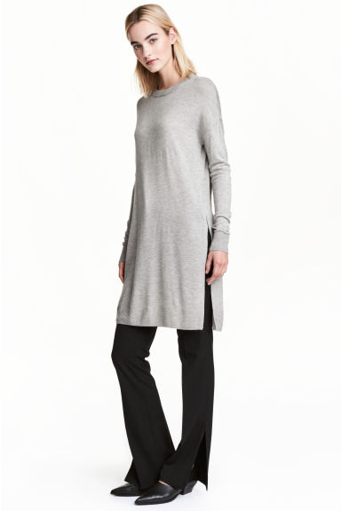 Fine-knit tunic - Grey marl - Ladies | H&M CN 1