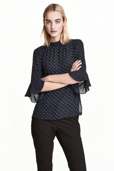 Blouse with flounced sleeves - Dark blue/Spotted - Ladies | H&M 1