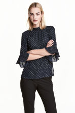Blouse with flounced sleeves - Dark blue/Spotted - Ladies | H&M CN 1