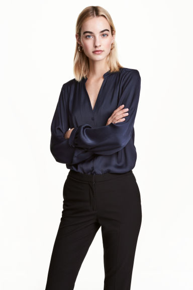 Satin blouse - Dark blue - Ladies | H&M