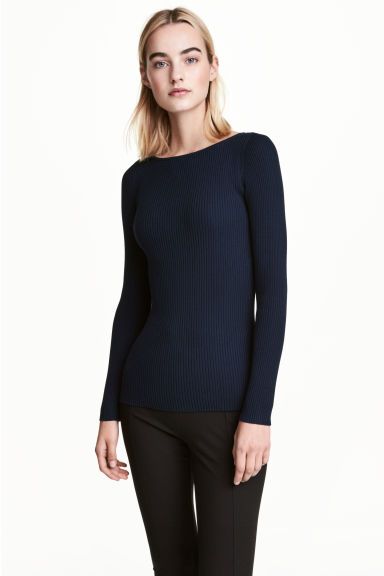Fitted jumper - Dark blue - Ladies | H&M