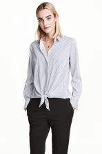 Tie-front shirt - White/Blue striped - Ladies | H&M 1