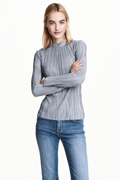 Long-sleeved top - Blue-grey - Ladies | H&M 1