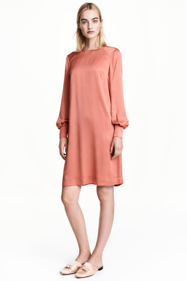 Robe à manches longues - Orange -  | H&M BE 1