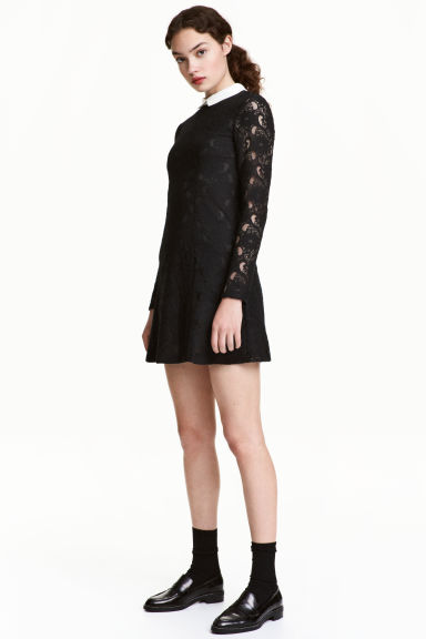 Lace dress with a collar - Black - Ladies | H&M 1