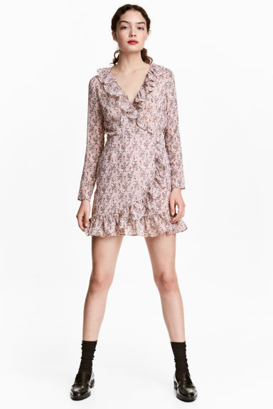 荷葉邊裹身式洋裝 - Powder pink/Pattern - Ladies | H&M 1