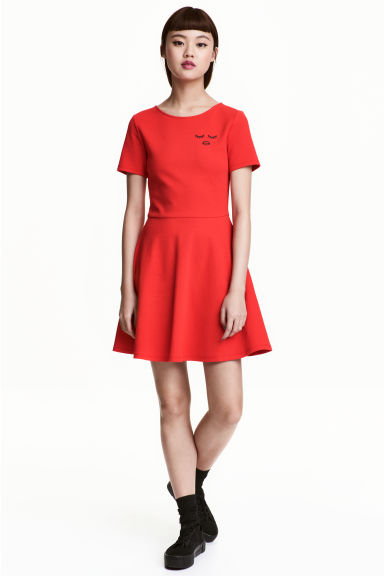 Cotton jersey dress - Red - Ladies | H&M CN
