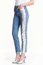 Slim Metallic-print Jeans - Denim blue/Silver - Ladies | H&M 1