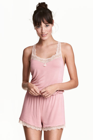 Playsuit with lace trims - Old rose - Ladies | H&M IE