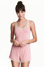 Playsuit with lace trims - Old rose - Ladies | H&M 1