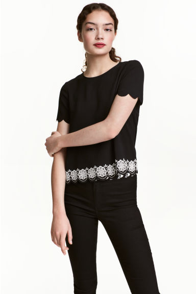 Short-sleeved blouse - Black - Ladies | H&M CN 1