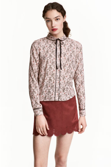 Blouse with a tie - Powder pink/Pattern - Ladies | H&M CN 1