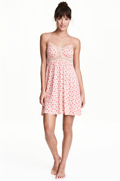Nightslip with lace - Powder pink/Pattern - Ladies | H&M CN 1