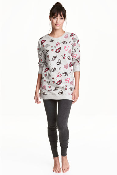 Lounge set top and leggings - Grey/Patterned -  | H&M CN