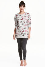 Lounge set top and leggings - Grey/Patterned -  | H&M CN 1
