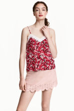 Strappy top with lace - Dark red/Floral - Ladies | H&M CN 1