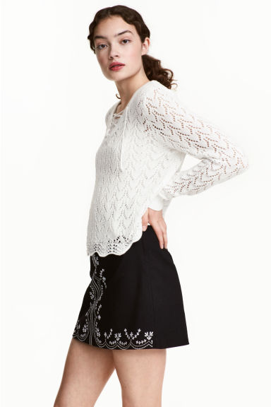 Knitted jumper with lacing - White -  | H&M CN