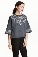 Sweatshirt with a rubber print - Dark grey - Ladies | H&M CN 1