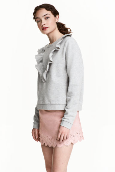 Short sweatshirt with frills - Grey - Ladies | H&M CN