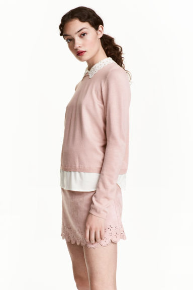 Fine-knit jumper with a collar - Powder pink - Ladies | H&M CN 1