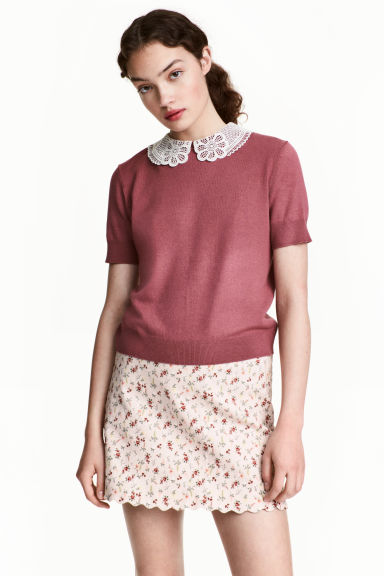 Fine-knit top with a collar - Terracotta - Ladies | H&M 1