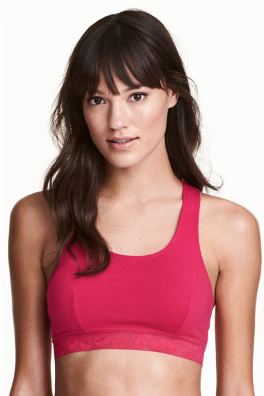 Soft cotton bra top - Dark pink - Ladies | H&M 1