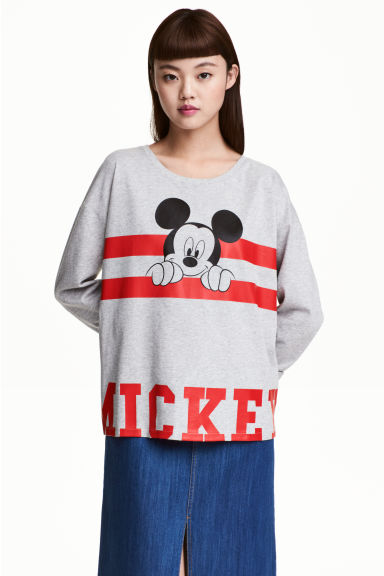 Long-sleeved top - Grey/Mickey Mouse - Ladies | H&M CN 1