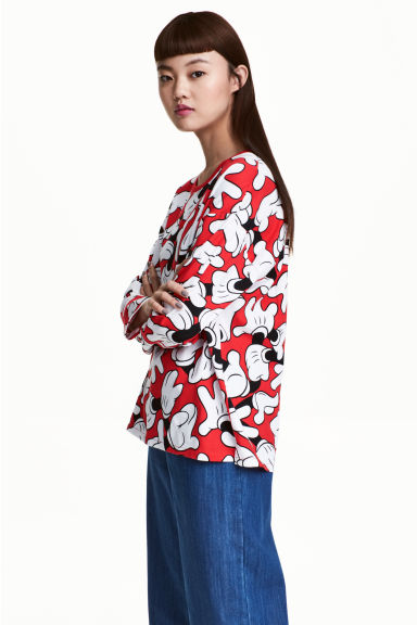 Long-sleeved top - Red/Mickey Mouse - Ladies | H&M CN 1
