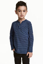 Henley shirt - Dark blue/Striped -  | H&M CN 1