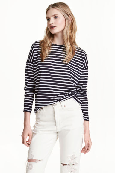 Striped jersey top - Dark blue/Striped - Ladies | H&M CN 1
