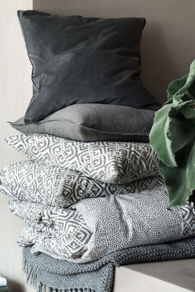 Patterned duvet cover set - Grey - Home All | H&M CN 1