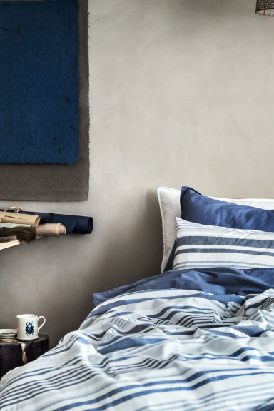 Set copripiumino a righe - Bianco naturale/blu - HOME | H&M IT 1