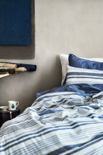 Striped duvet cover set - Natural white/Blue - Home All | H&M CN 1