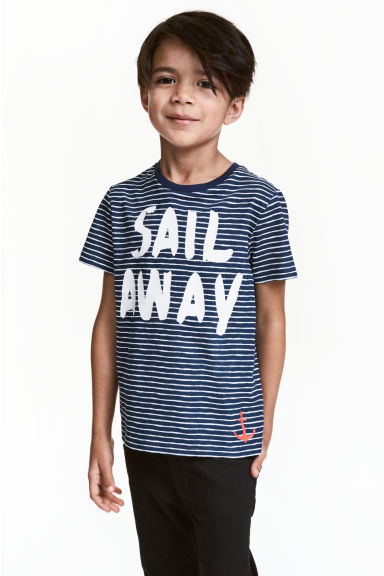 Printed T-shirt - Dark blue/Striped -  | H&M